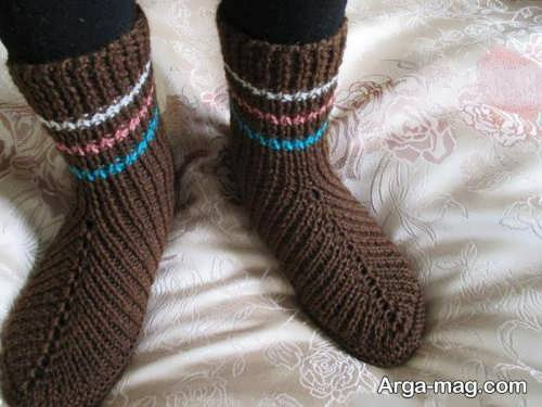 جوراب بافتنی قهوه ای