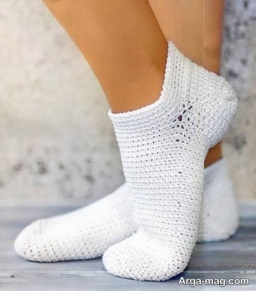 جوراب بافتنی سفید
