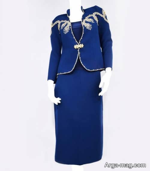 کت و دامن آبی زنانه