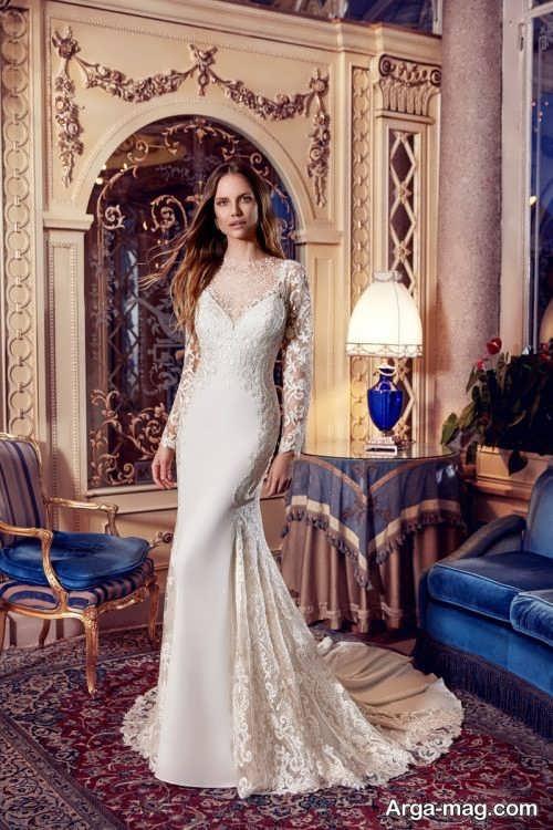 لباس عروس شیک و آستین دار