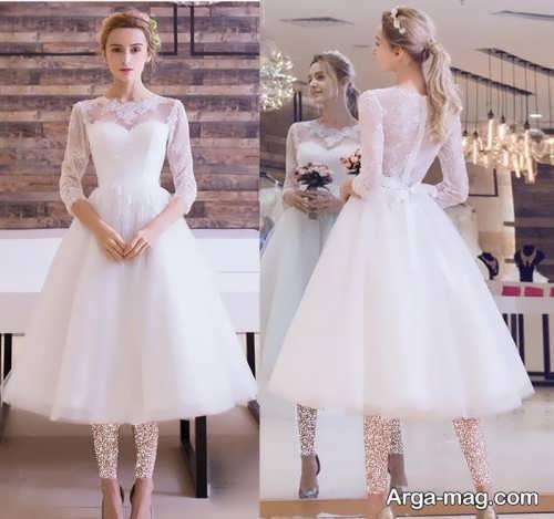 مدل پیراهن عروس زیبا و آستین دار