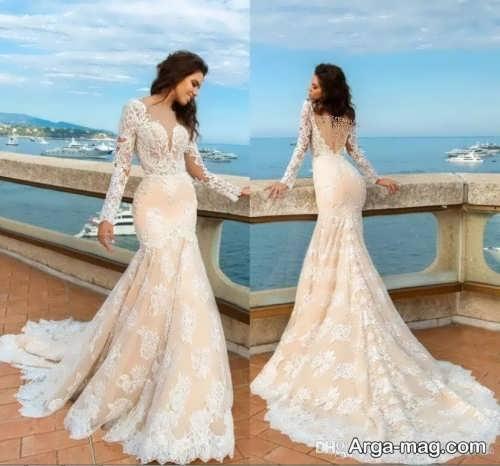 لباس عروس آستین بلند و دنباله دار