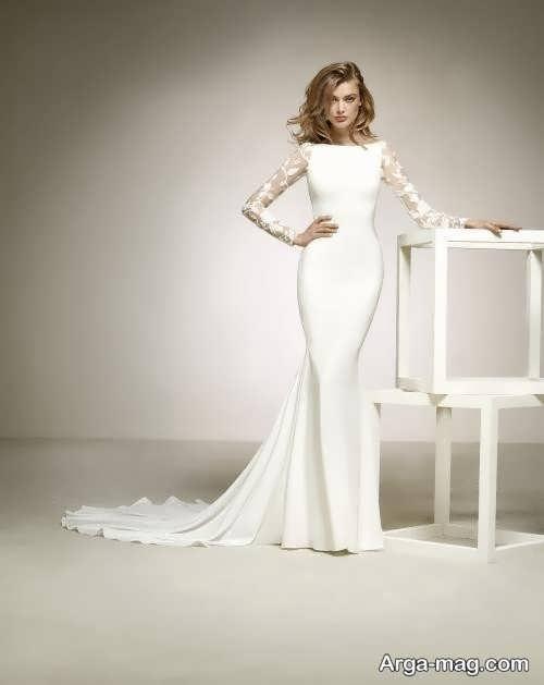 لباس عروس آستین بلند ساده و زیبا