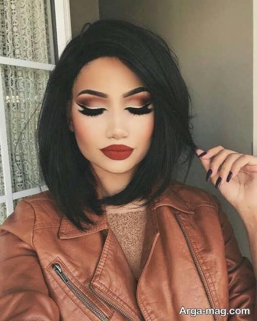 مدل آرایش صورت با موی مشکی