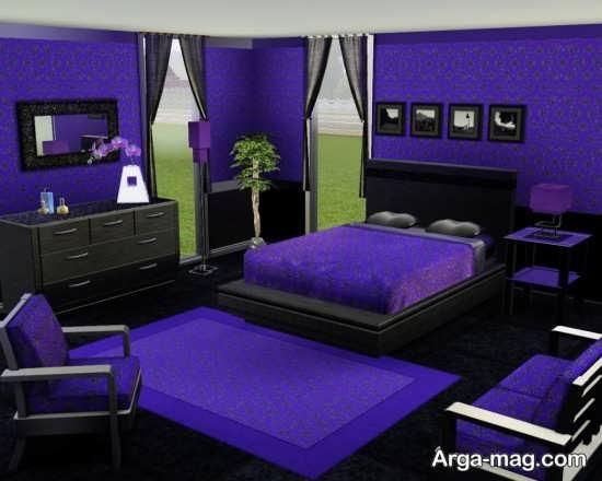 چیدمان دیدنی اتاق خواب بنفش