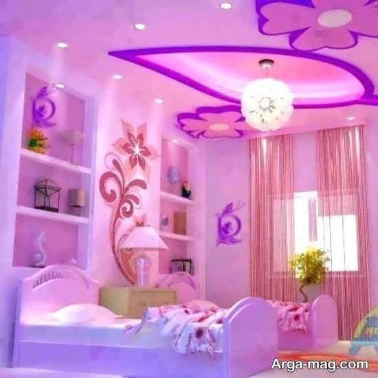 دیزاین متفاوت اتاق خواب بنفش