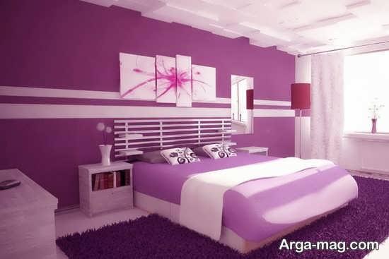 دیزاین شیک اتاق خواب بنفش