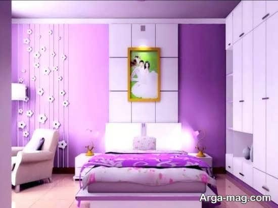 دکوراسیون دیدنی اتاق خواب بنفش