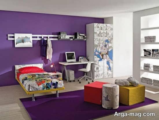 دکوراسیون جدید اتاق خواب بنفش