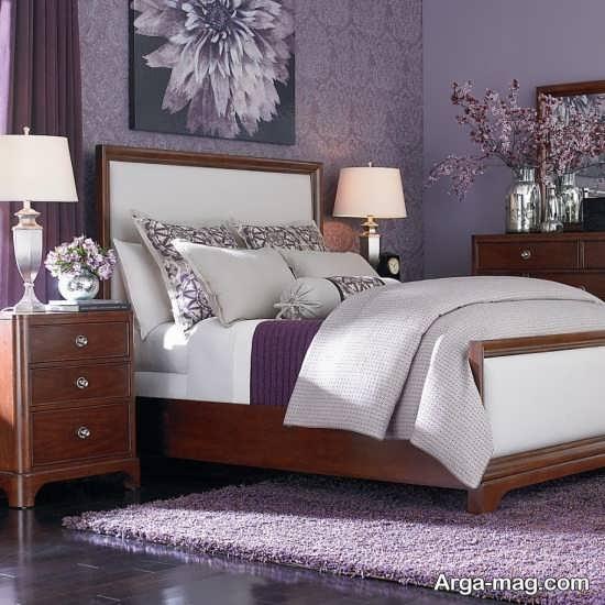 طراحی متفاوت اتاق خواب بنفش