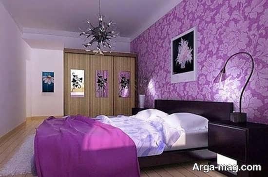 طراحی شیک اتاق خواب بنفش