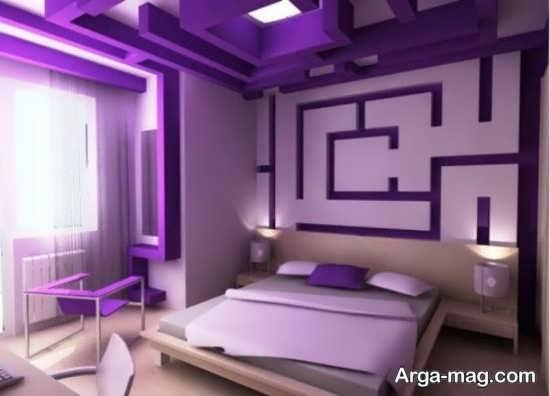 طراحی جدید اتاق خواب بنفش