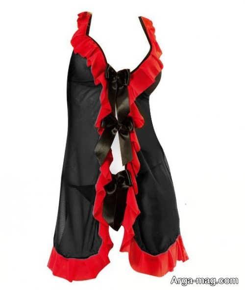 لباس خواب مشکی و قرمز