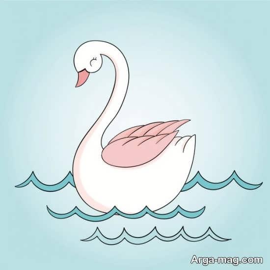 کشیدن پرنده قو با رنگ آمیزی قشنگ