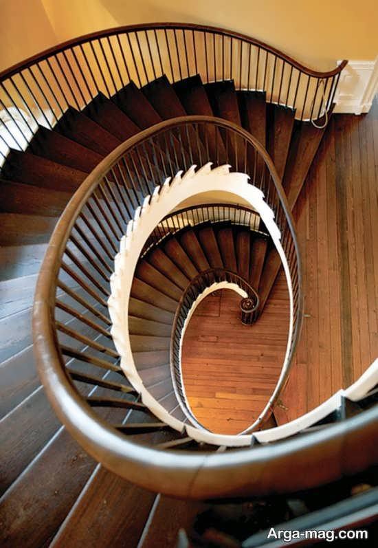 مدل راه پله چوبی مارپیچ