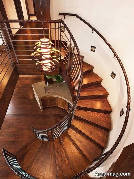 چیدمان راه پله چوبی به سبک جدید