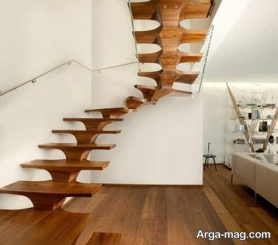 مدل جالب راه پله چوبی