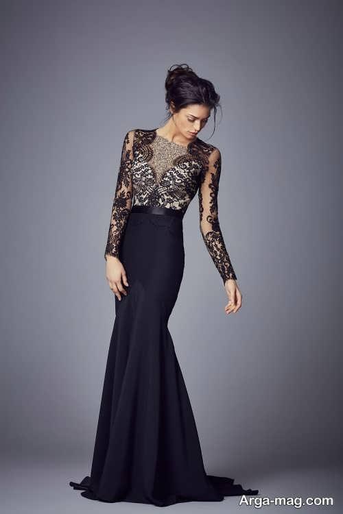 مدل لباس شب آستین دار