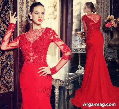 مدل لباس شب قرمز و کار شده با گیپور