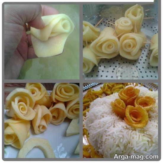 تزیین گل سیب زمینی با خلال دندان