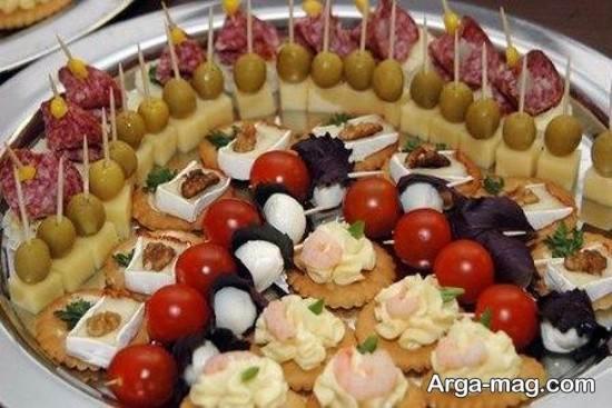 تزیین غذای مهمانی با خلال دندان
