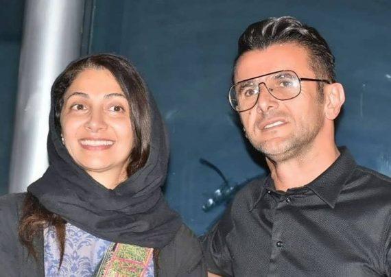 امین حیایی و همسرش با چهره ای خندان