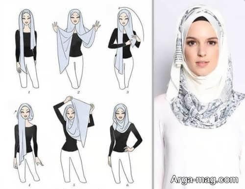 آموزش بستن شال عربی طرح دار