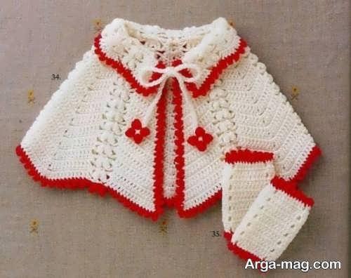 شنل بافتنی قرمز و سفید