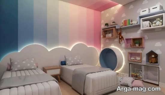 اتاق خواب با طراحی دو تخته