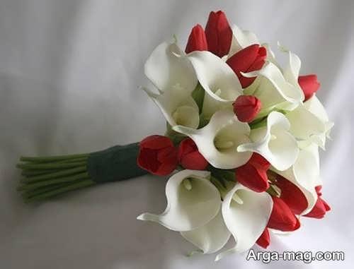 دسته گل قرمز و سفید برای عروس