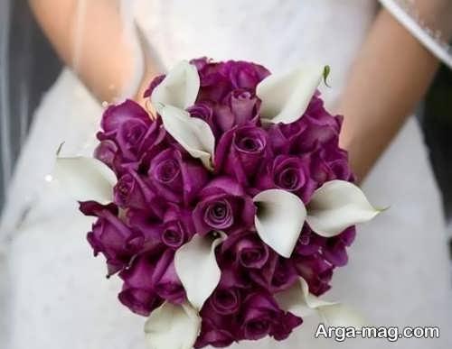 دسته گل بنفش و سفید برای عروس