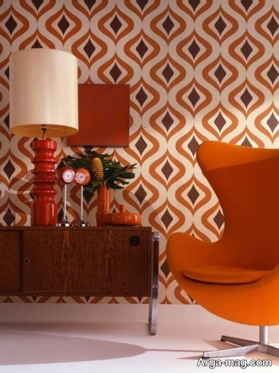چیدمان مدرن با رنگ نارنجی