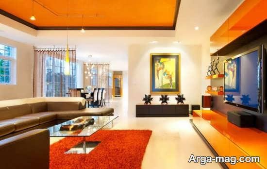 چیدمان منزل با رنگ نارنجی