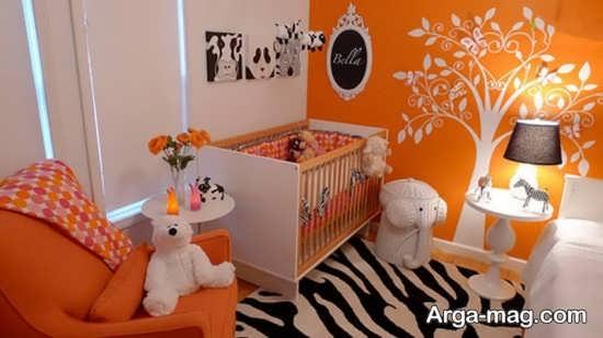 دیزاین منزل با رنگ نارنجی