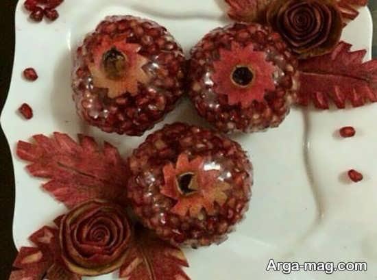 تزیین دانه های انار به شکل خلاقانه