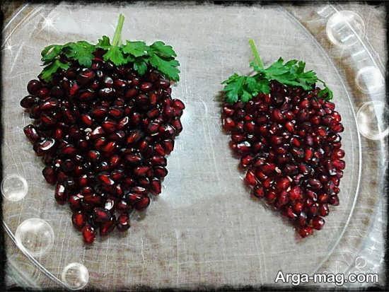 تزیین دانه های انار به شکل میوه انگور