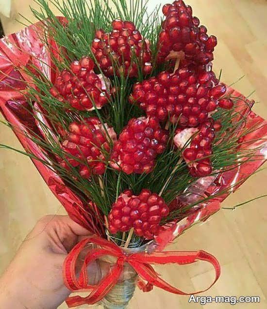 ساخت دسته گل زیبا انار دون شده