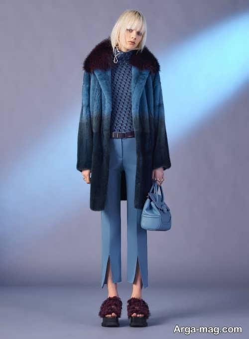 مدل پالتوی دخترانه دو رنگ