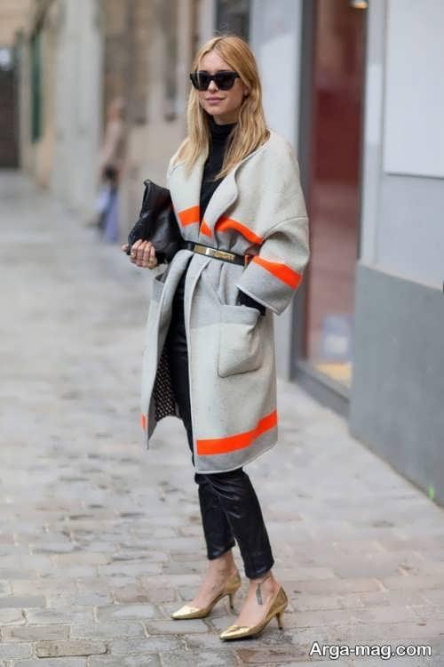 مدل پالتو خاکستری و نارنجی زنانه
