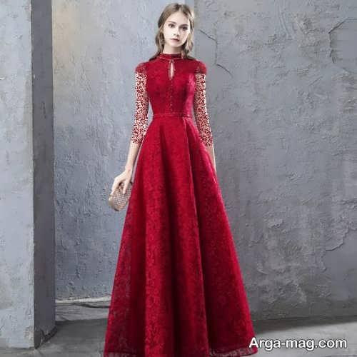 مدل لباس مجلسی قرمز تیره