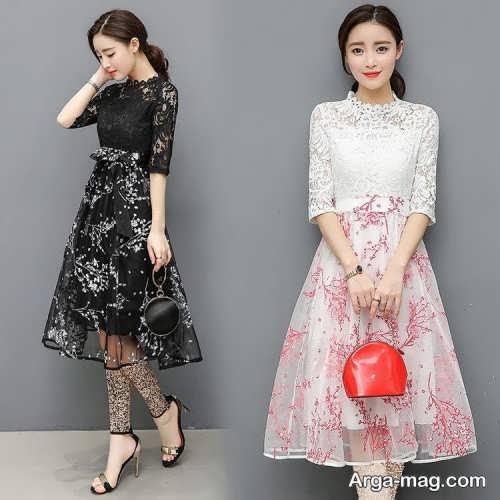مدل لباس مجلسی کره ای طرح دار