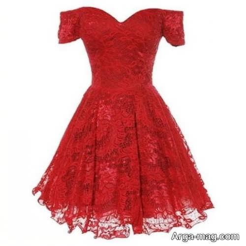 مدل لباس مجلسی قرمز کوتاه دخترانه
