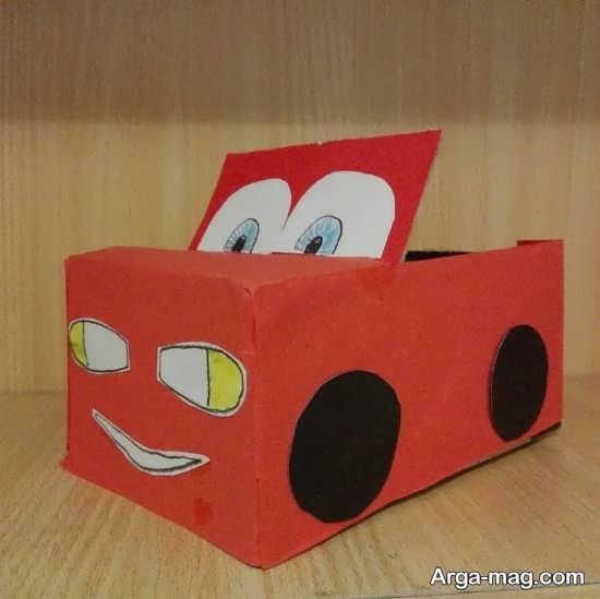 کاردستی ماشین اسباب بازی با جعبه کفش