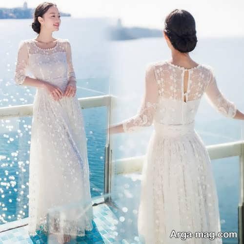 مدل لباس عروس زیبا و آستین دار