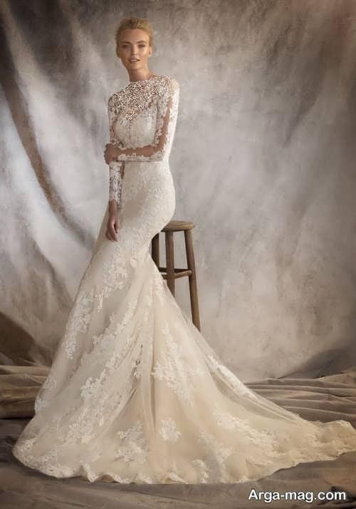 مدل لباس عروس آستین دار ماکسی