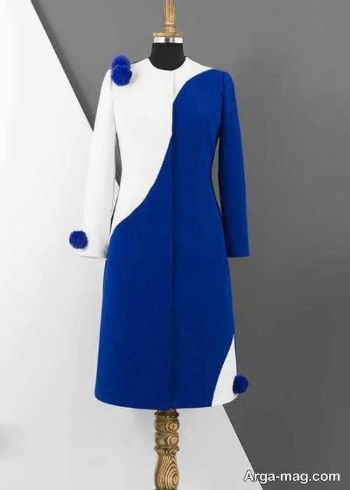 مدل مانتو سفید و آبی