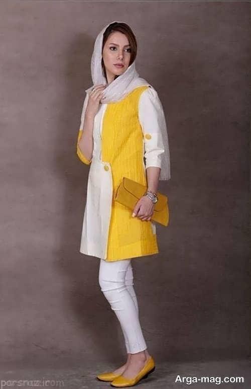 مدل مانتو مجلسی سفید و زرد