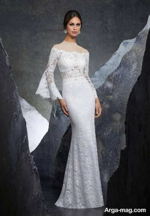 مدل لباس عروس آستین دار زیبا و شیک