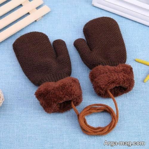 مدل دستکش بافتنی بچه گانه قهوه ای