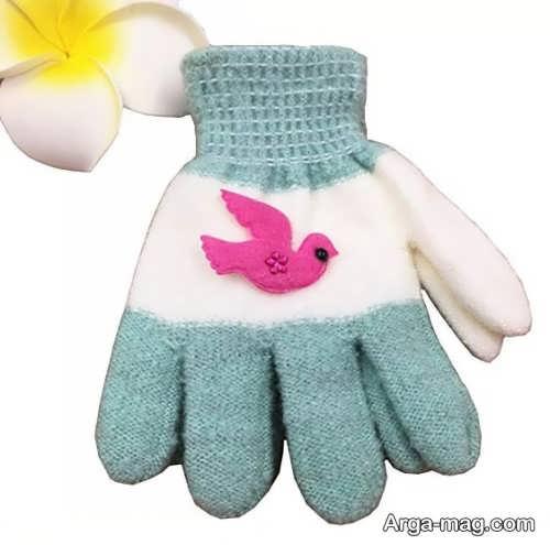 مدل دستکش بافتنی بچه گانه طرح دار